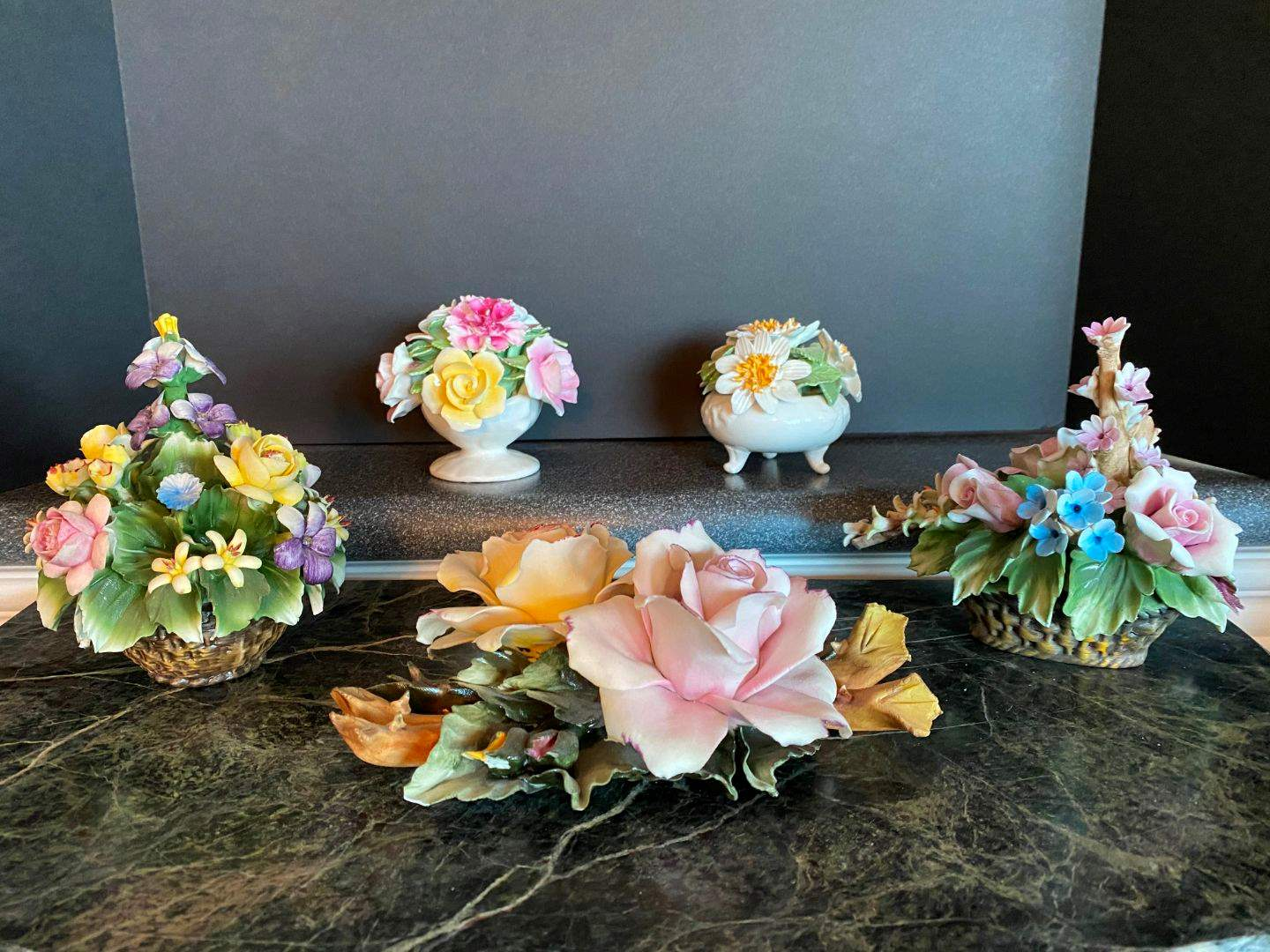 Lot # 66 - Three Pieces of Floral Capodimonte, One Royale Stratford & One Radnor (main image)