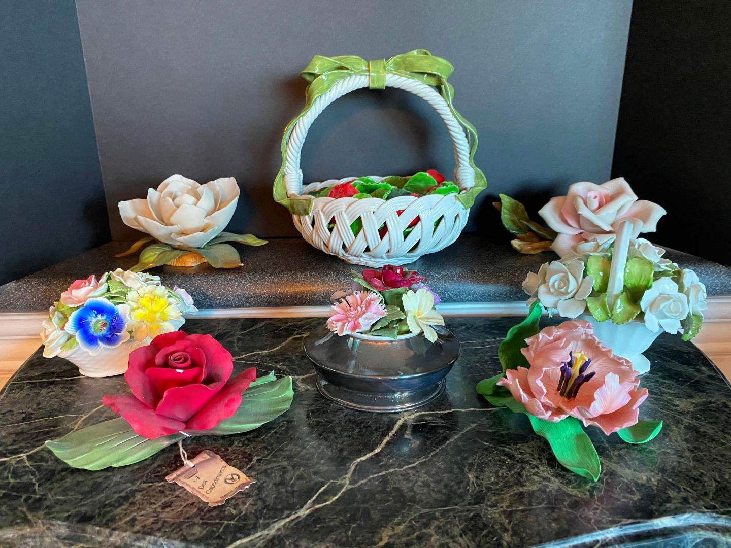 Lot # 69 - Capodimonte Flowers, Ceramic Basket of Strawberries Made in Italy, Lenox & Royal Stratford (main image)