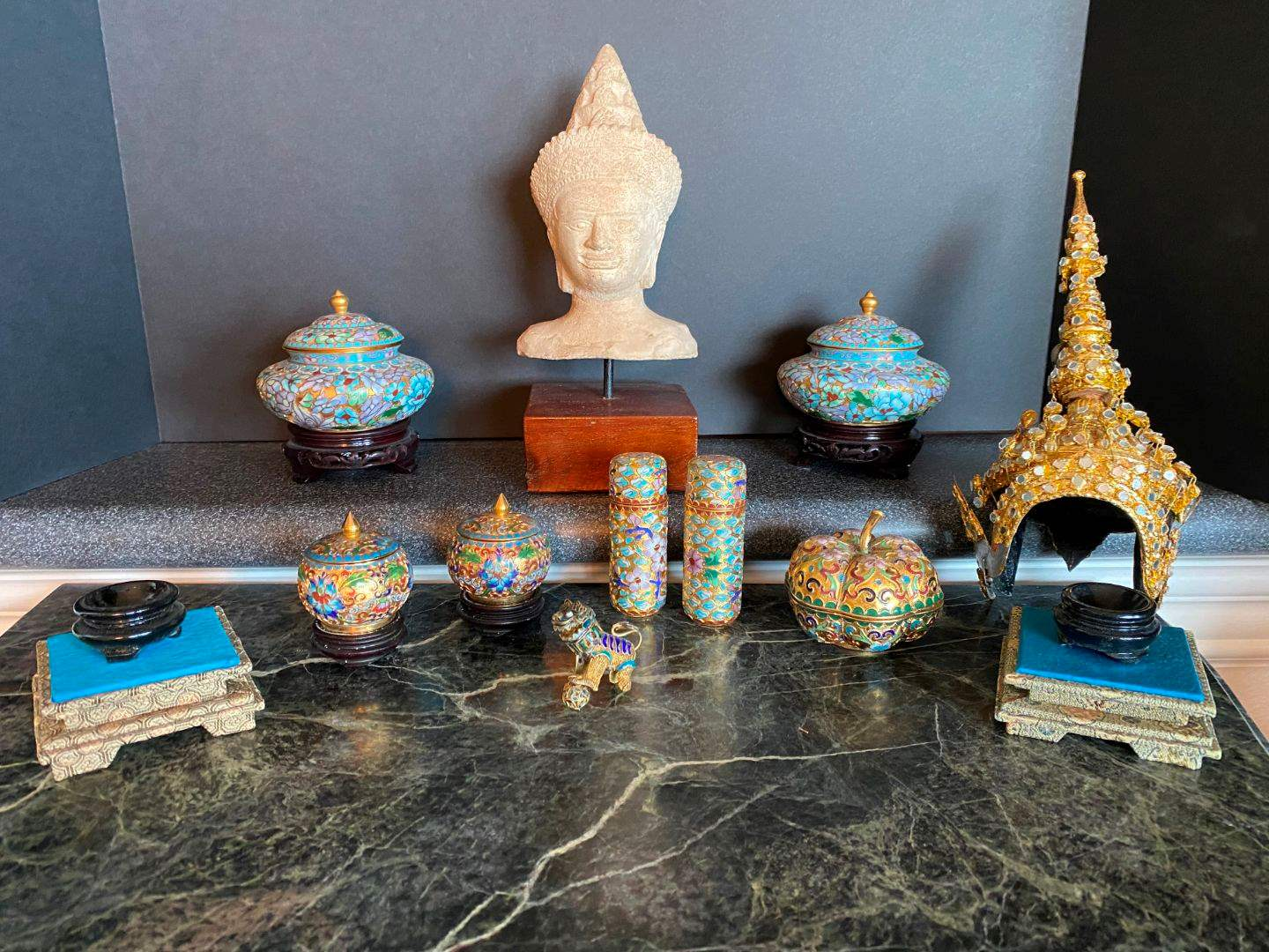 Lot # 77 - Small Brass Canisters, Small Brass Foo Dog, Asian Bust & More.. (main image)