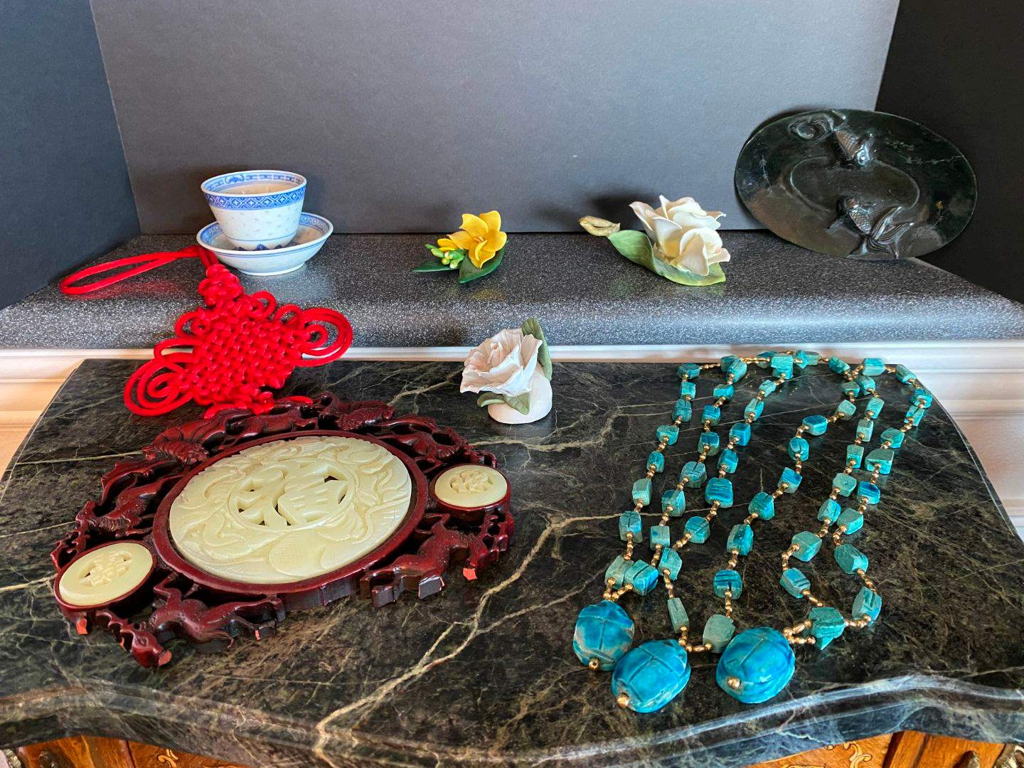 Lot # 78 - Jade & Wood Asian Wall Hanging, Small Jade Koi Plate, Turquoise Clay Necklace & More.. (main image)