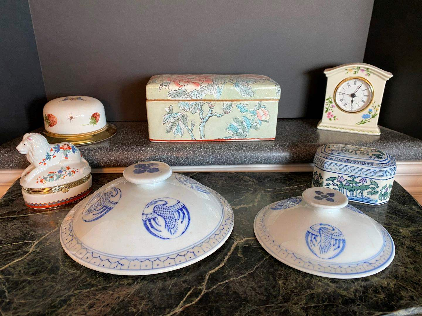 Lot # 79 - Ceramic Floral Keepsake Box, Small Decorative Clock, Porcelain Lion Trinket Box & More.. (main image)