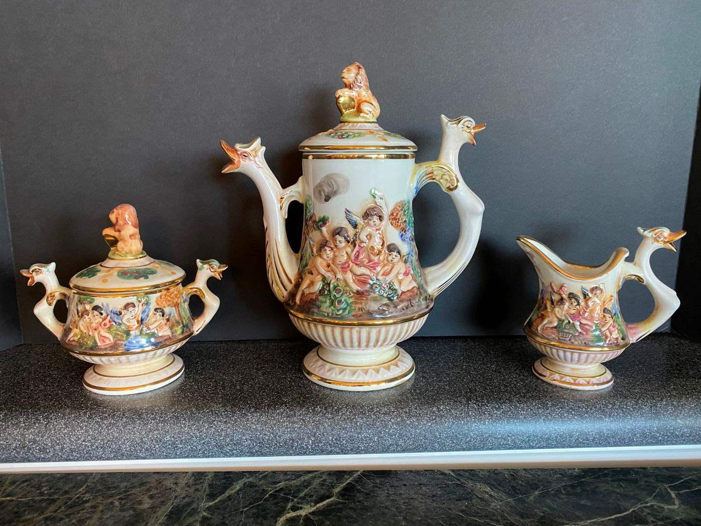 Lot # 85 - Nice Capodimonte Tea Serving Set (main image)