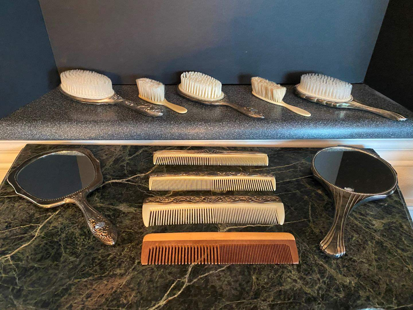 Lot # 99 - Vintage/Antique Silver Plated Mirrors, Brushes & Combs (main image)