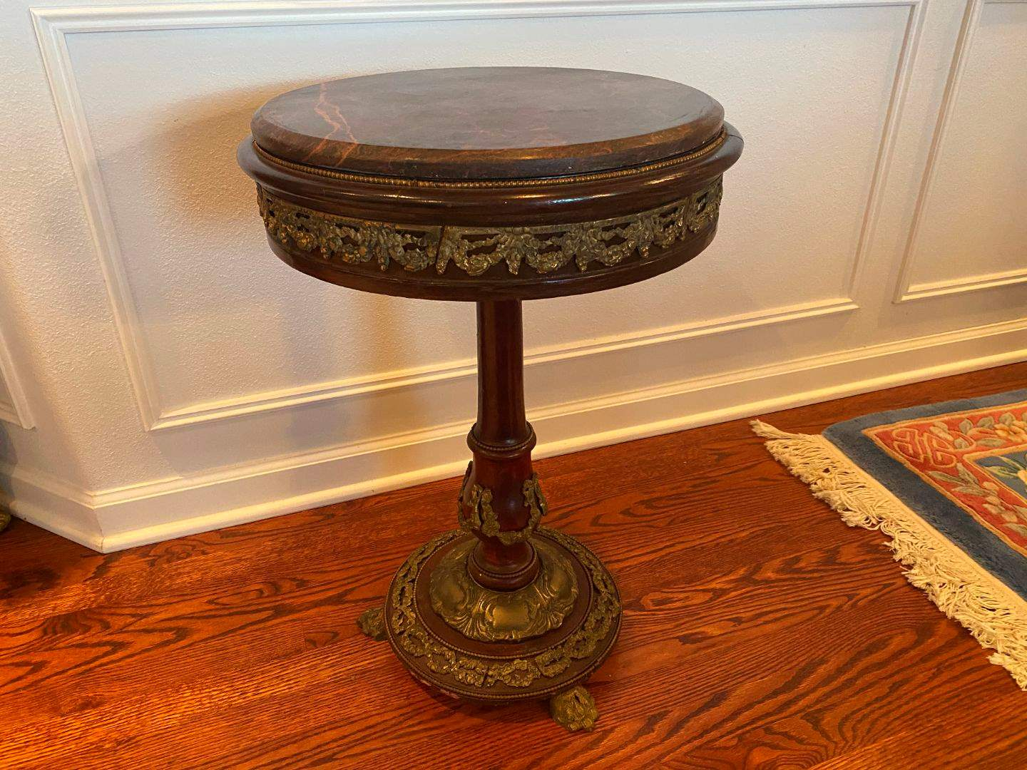 Lot # 100 - Vintage French Louis XV Style Marble Top Wood Side Table w/Brass Accents  (main image)
