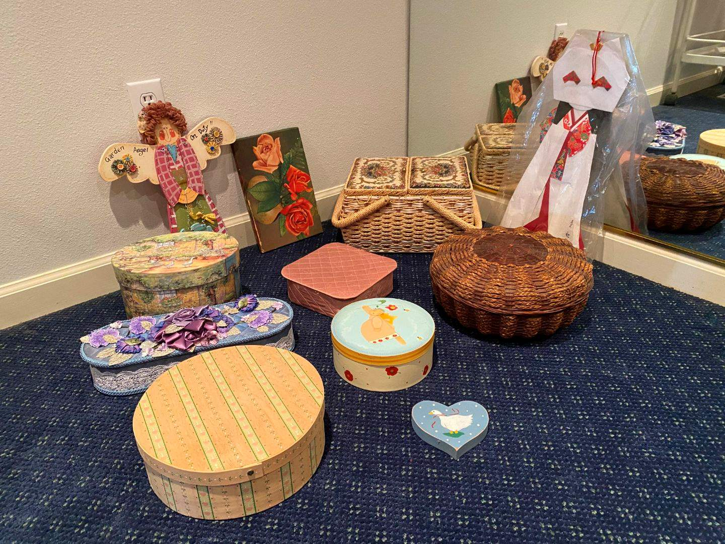 Lot # 125 - Nice Nesting Boxes, Baskets, Sewing Basket, Embroidered Napkins & More.. (main image)