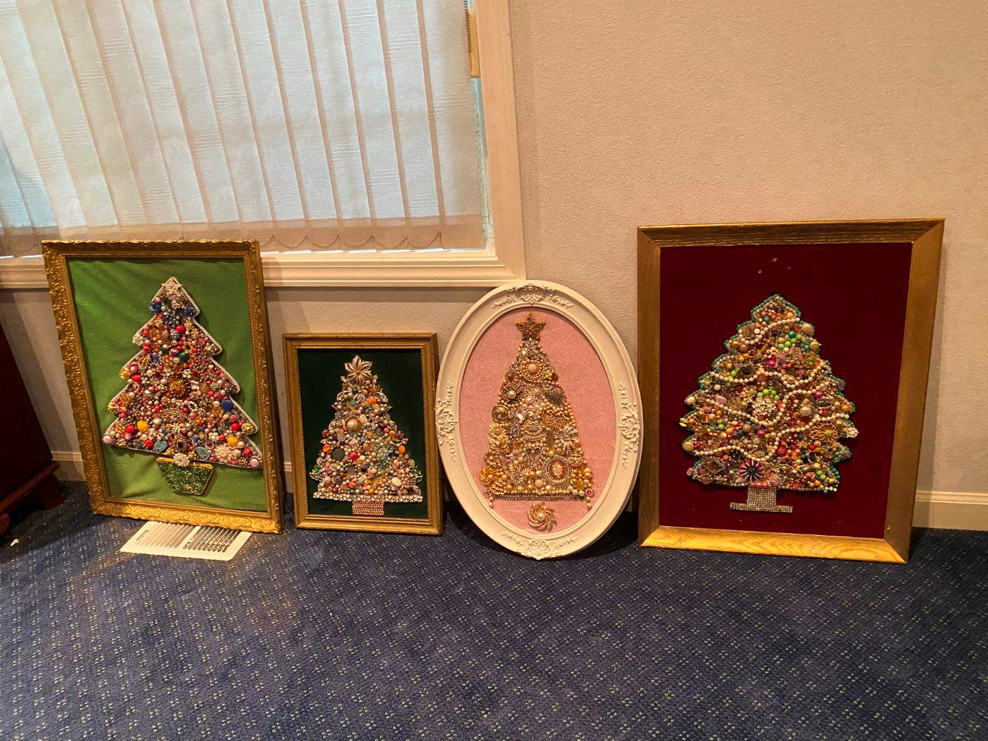 Lot # 126 - Four Handmade Pieces of Wall Art Made out of Vintage Costume Jewelry  (main image)