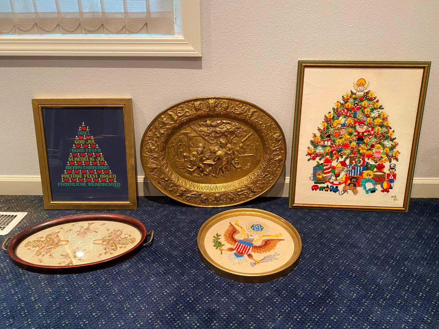 Lot # 129 - Copper Wall Hanging, Hand Embroidered Wall Hangings & More.. (main image)