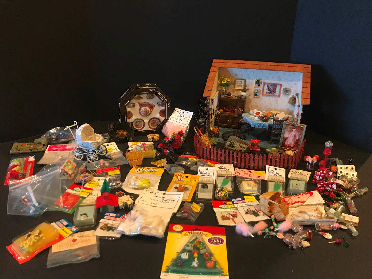 Lot # 155 - Miniature Doll House w/Accessories & More.. (main image)