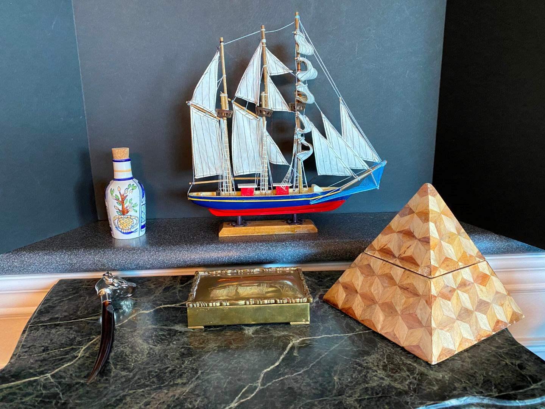 Lot # 138 - Wood Ship, Brass Keep Sake Box, Wood Pyramid Box & More.. (main image)