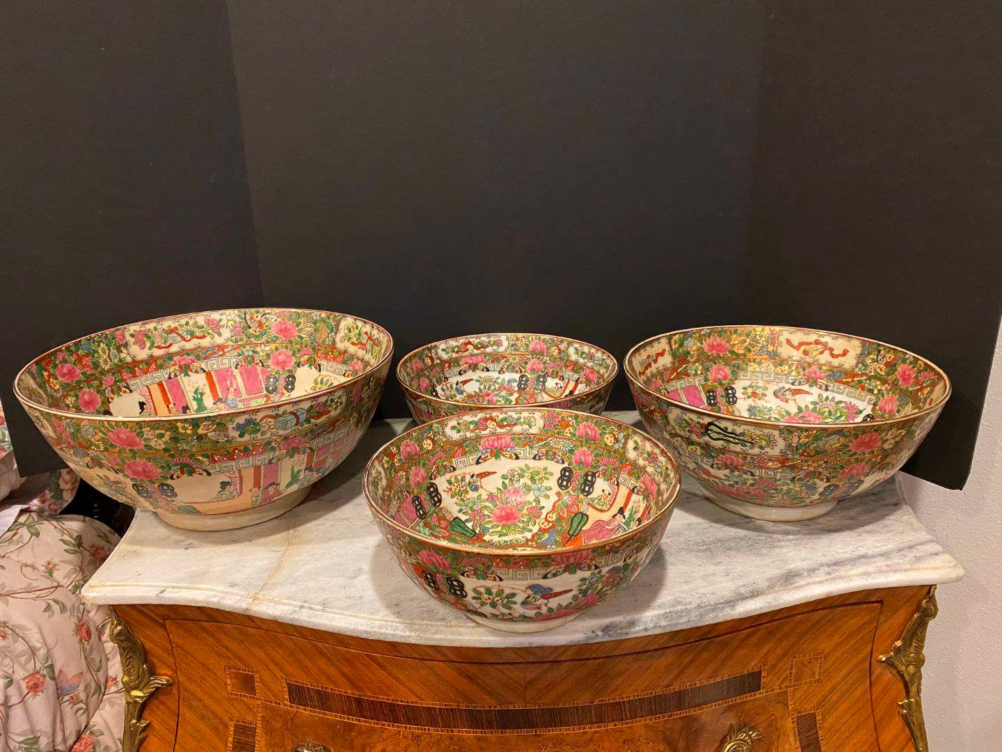 Lot # 144 - Four Matching Large Vintage/Antique Hand Painted Asian Bowls of Various Sizes (main image)