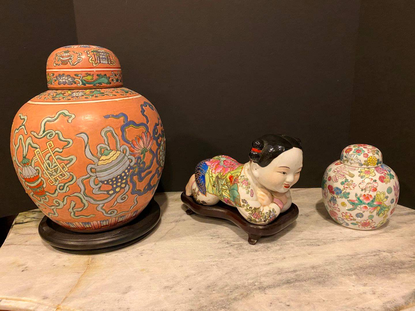 Lot # 145 - Two Hand Painted Asian Ginger Jars & Ceramic Asian Figurine  (main image)