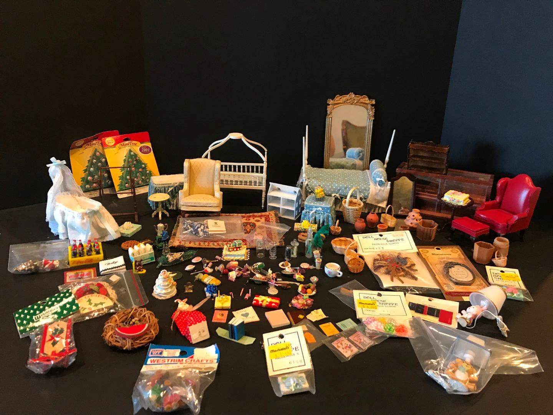 Lot # 158 - Miniature Wood Doll Furniture, Food & More.. (main image)