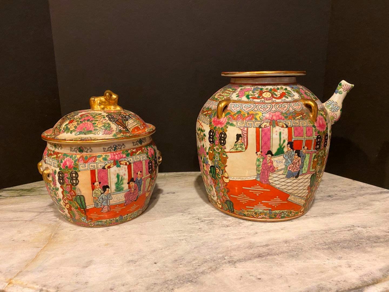 Lot # 146 - Large Unique Hand Painted Asian Pot w/Spout, Smaller Hand Painted Ceramic Pot w/Lid (main image)