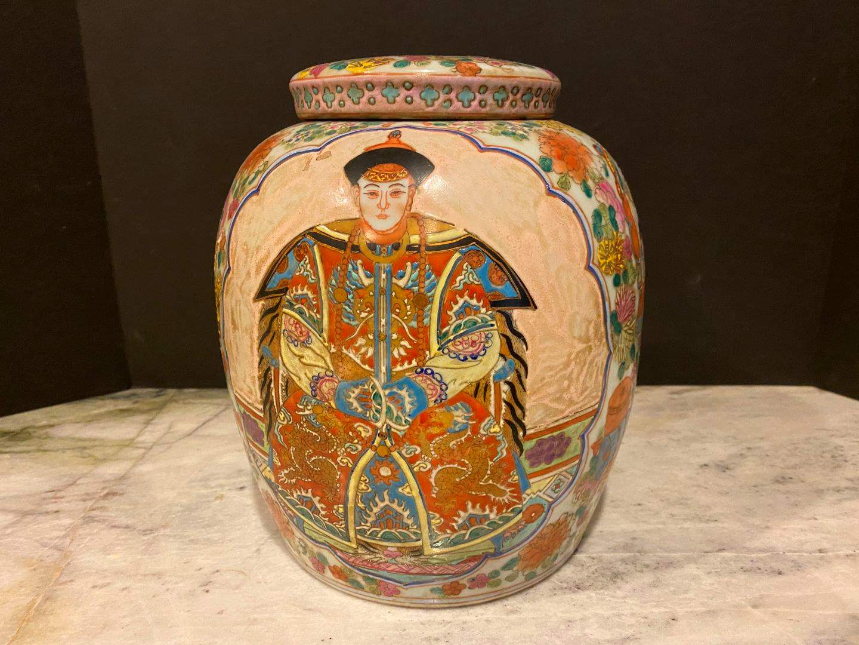 Lot # 147 - Nice Vintage Hand Painted Ceramic Urn (main image)