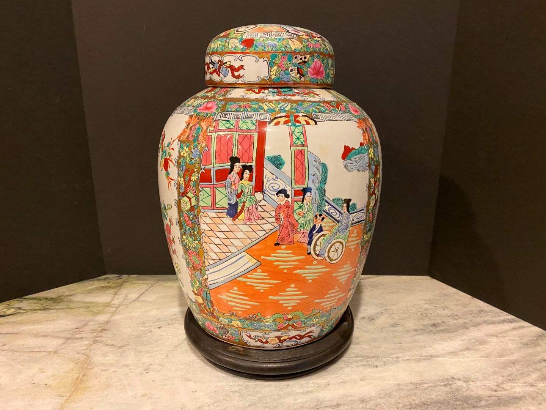 Lot # 148 - Nice Vintage Hand Painted Ceramic Urn (main image)