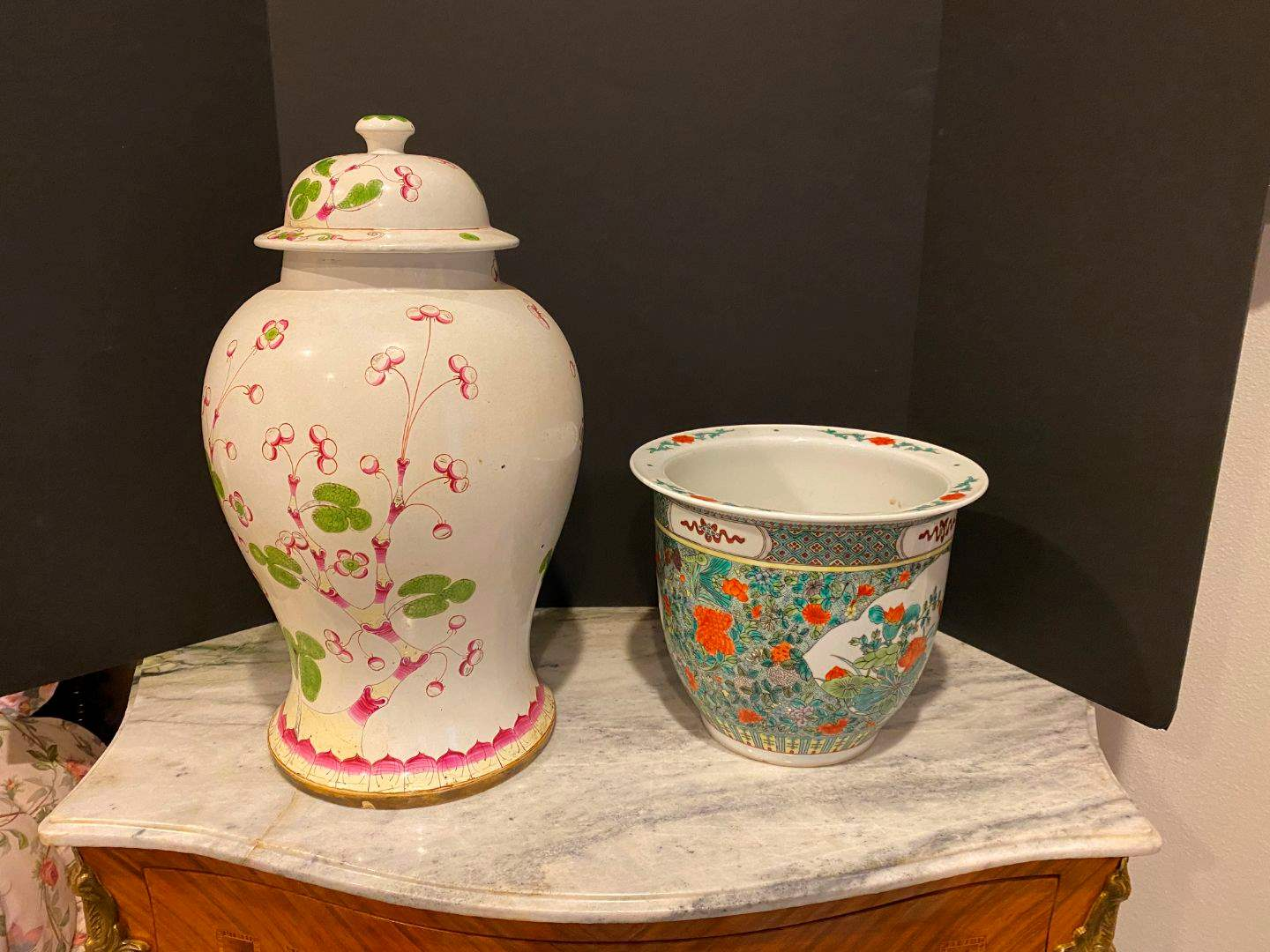 Lot # 149 - Large Urn Style Ceramic Lamp Base, Nice Asian Style Flowerpot. (main image)