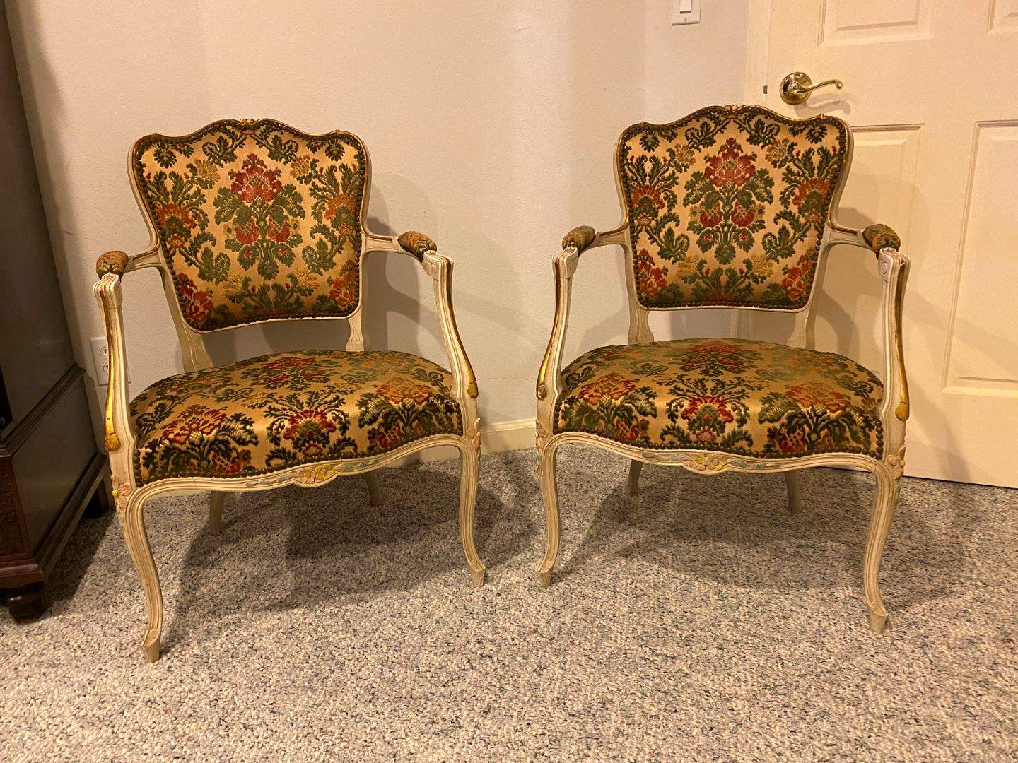Lot # 180 - Set of Two Vintage Upholstered Wood Arm Chairs (main image)