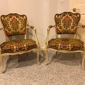 Auction Thumbnail for: Lot # 180 - Set of Two Vintage Upholstered Wood Arm Chairs