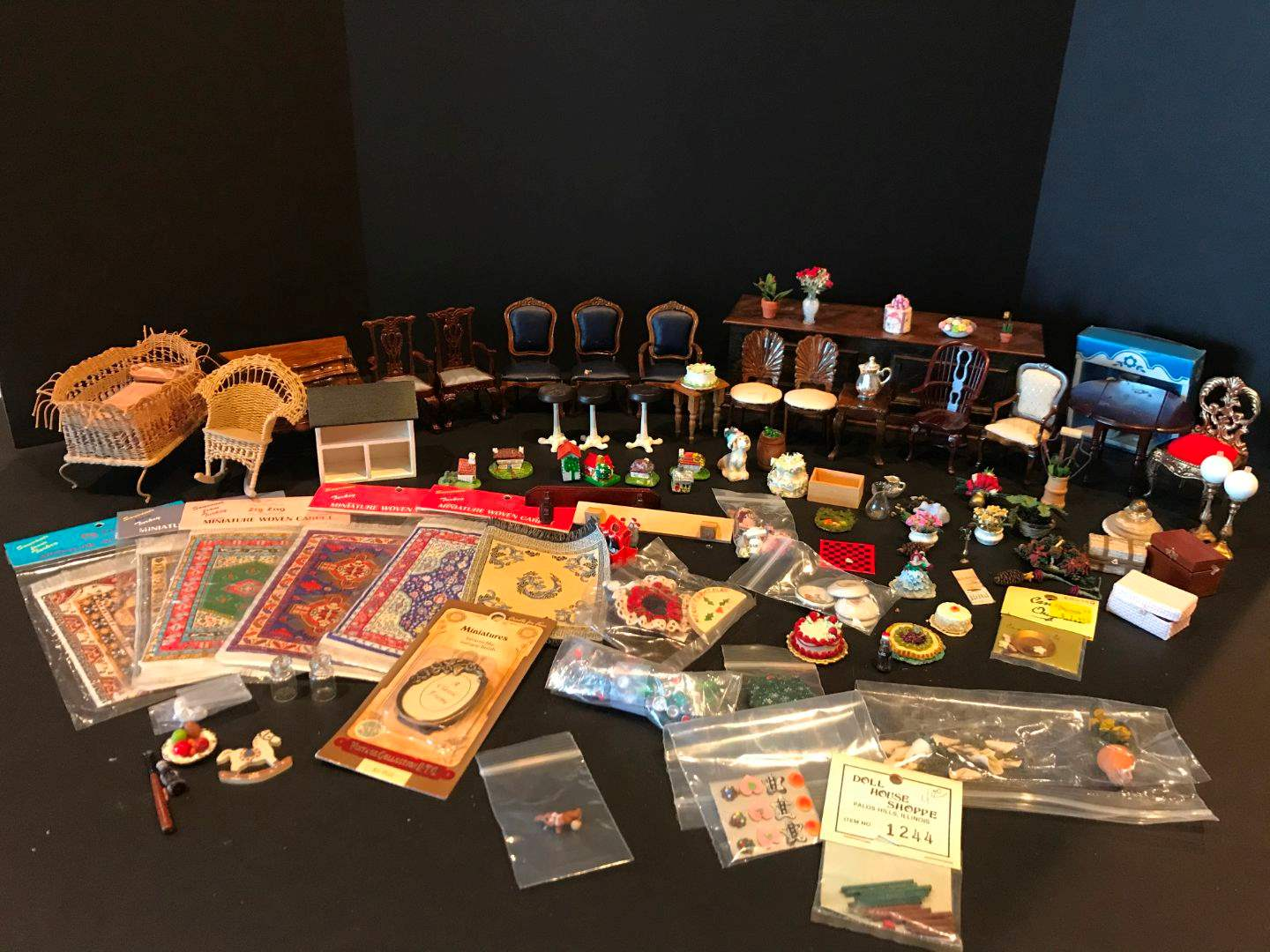 Lot # 159 - Misc Miniature Wood Doll Furniture & More..  (main image)