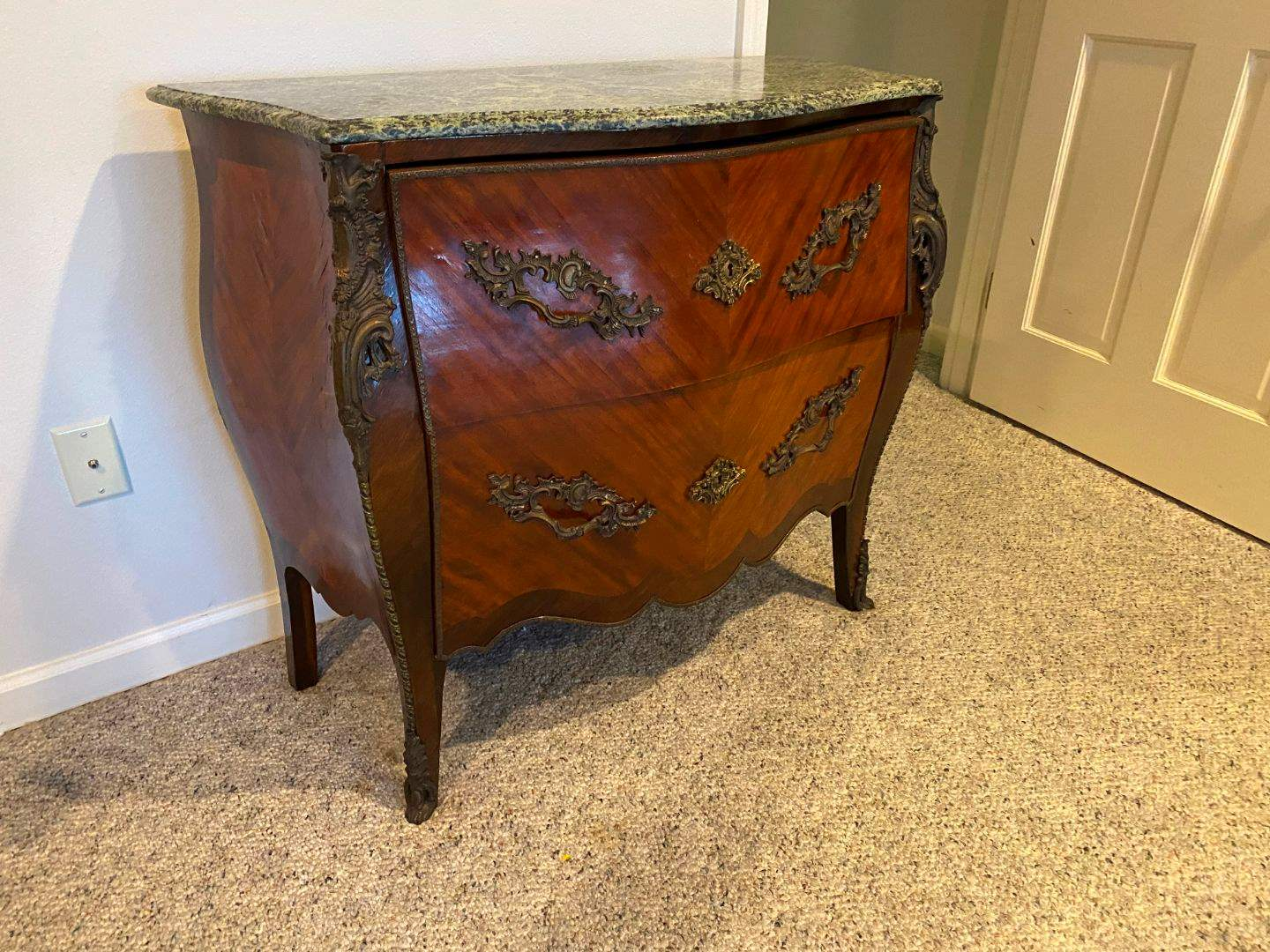 Lot # 190 - Vintage Louis XV Style Marble Top Commode  (main image)