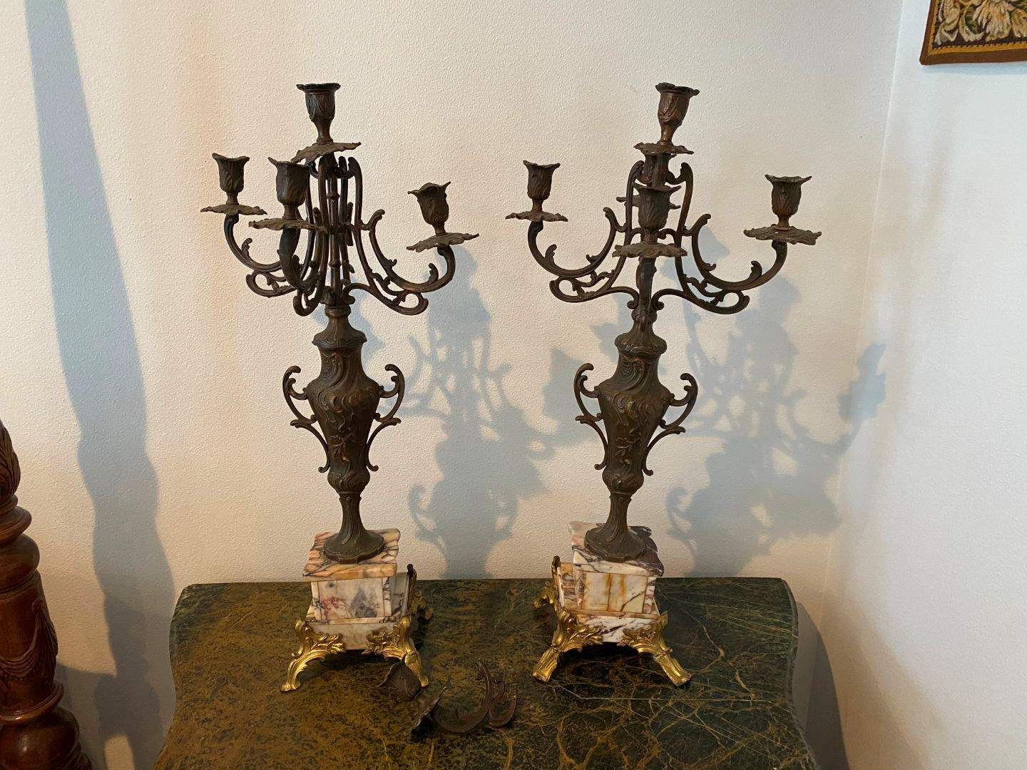 """Lot # 216 - Set of Two 25"""" Tall Marble Base w/Brass Candelabras  (main image)"""