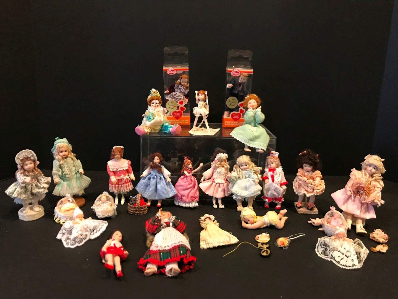 Lot # 169 - Porcelain Miniature Dolls, One Metal  (main image)