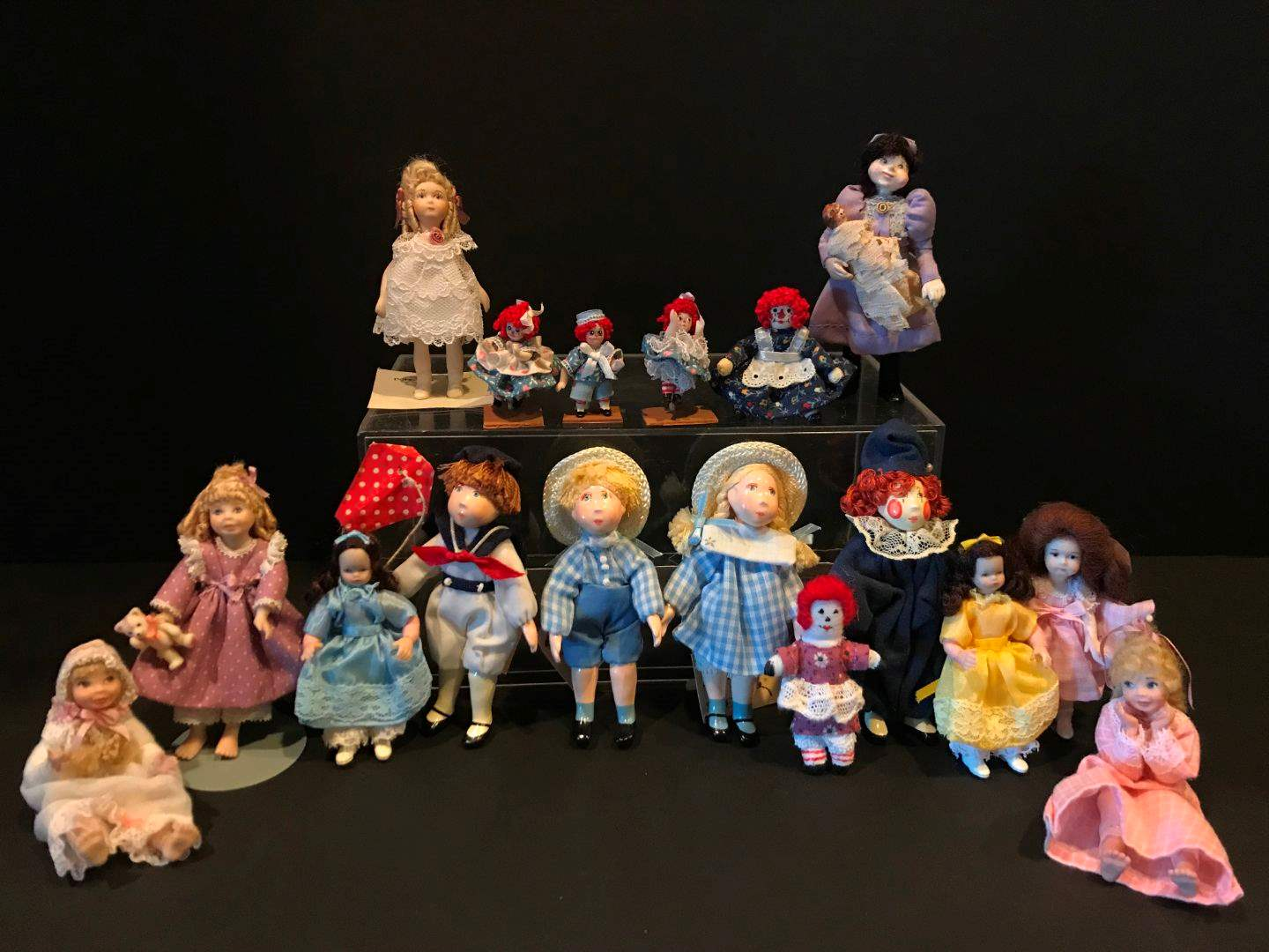 """Lot # 170 - Porcelain Dolls, """"Small People"""" by Cecily, Raggedy Ann & Andy """"The Doll House Miniatures"""" by Tim & Jody Richardson (main image)"""