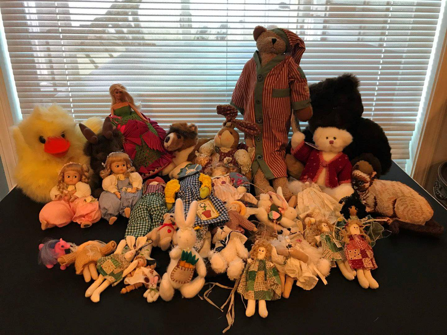 Lot # 232 - Stuffed Animals, Barbie & 2 Porcelain Baby Dolls (main image)