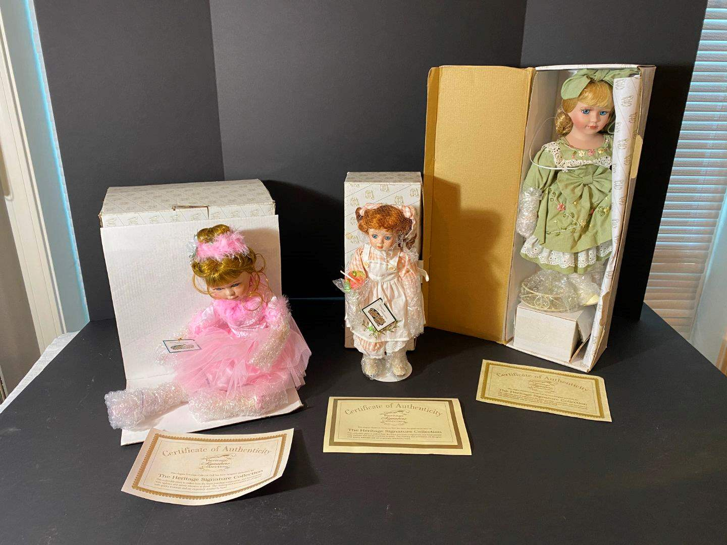 """Lot # 241 - 3 The Heritage Signature Collection Porcelain Dolls """"Jacqueline Ballerina"""", """"Pinafore Patty"""" & """"Polly's Tea Party""""  (main image)"""