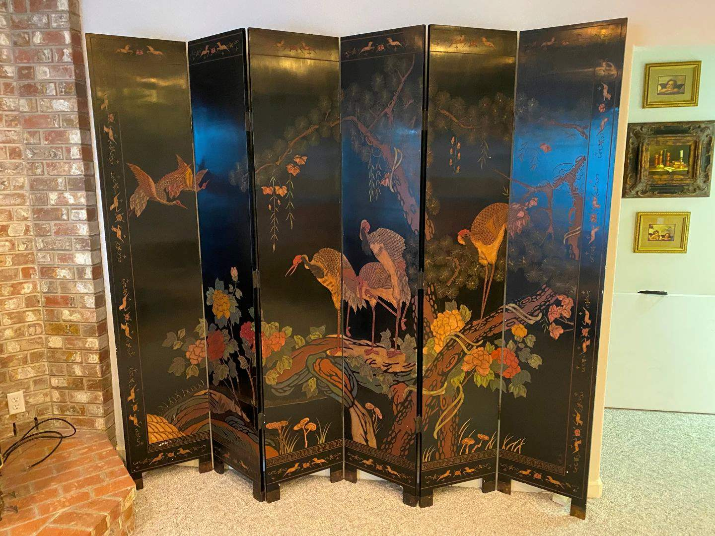 Lot # 262 - Beautiful Large Double Sided Wood Carved 6 Panel Screen/Divider  (main image)