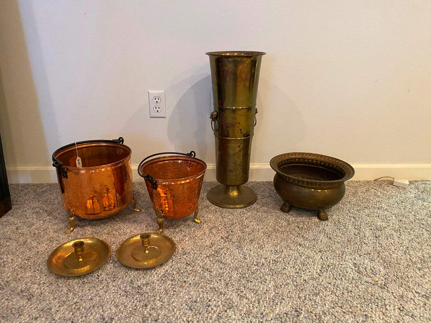 Lot # 263 - Brass Umbrella Stand, Copper Buckets/Pots, Brass Candle Stick Holders & Italian Brass/Copper Bucket (main image)