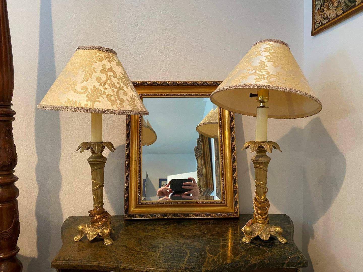 Lot # 268 - Two Metal Table Lamps w/Nice Wood Framed Mirror  (main image)