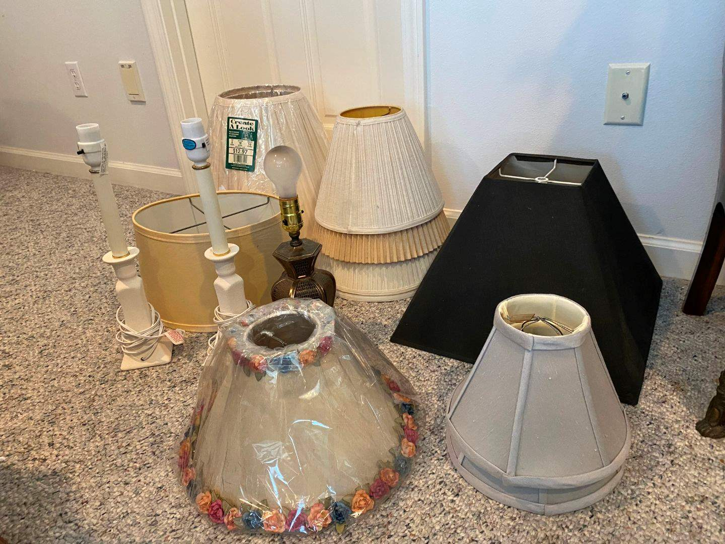 Lot # 276 - Three Table Lamps w/ Misc. Selection of Shades (main image)