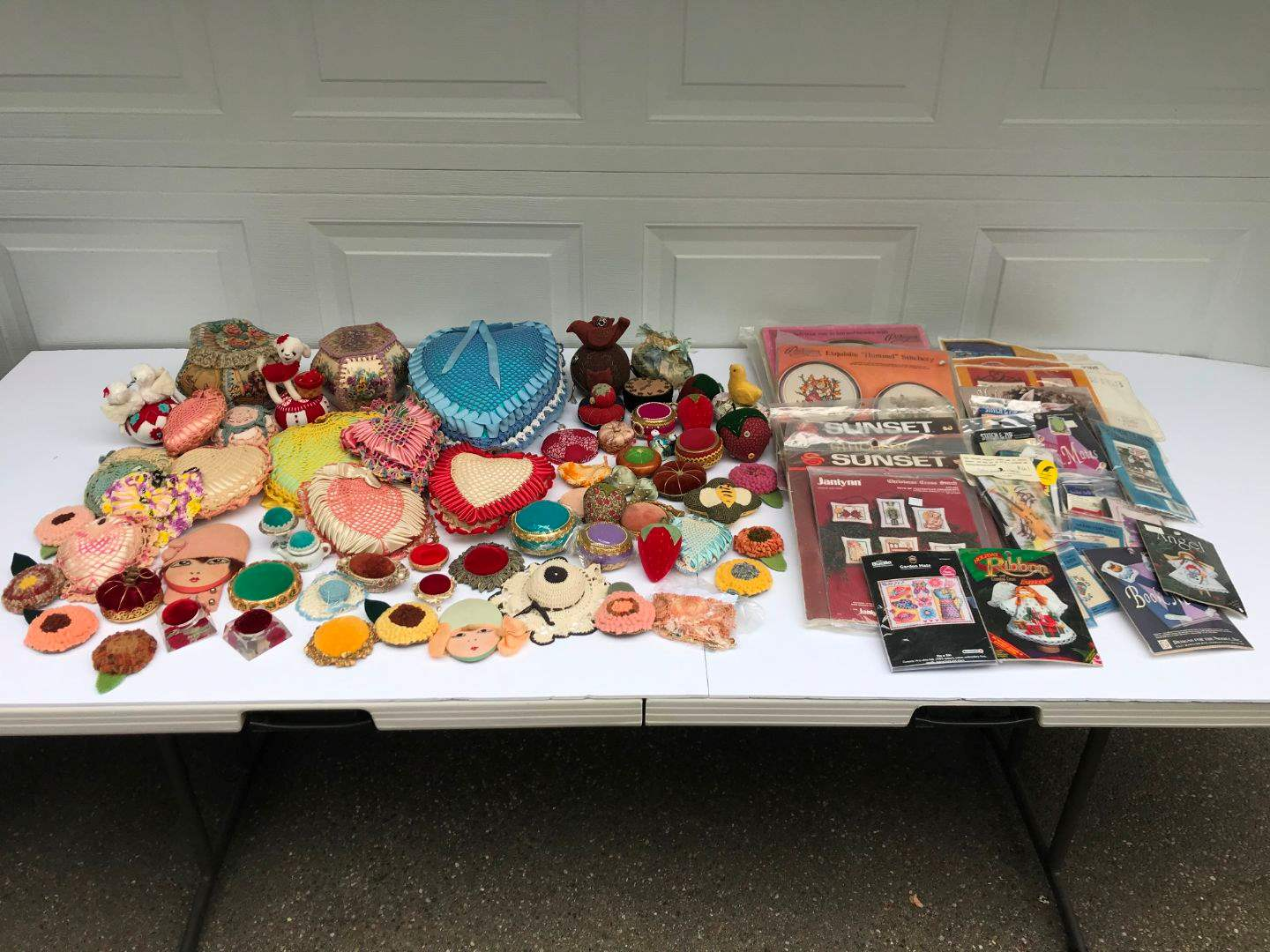Lot # 289 - Lot of Hand Made Pin Cushions & Cross Stitch Kits (main image)