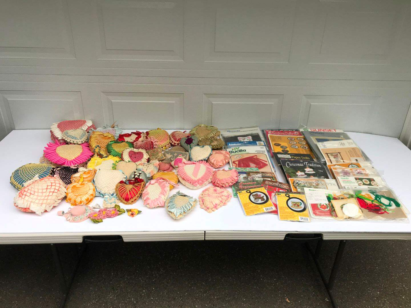 Lot # 290 - Large Lot of Hand Made Pin Cushions & Cross Stitch Kits (Some Have Been Completed) (main image)