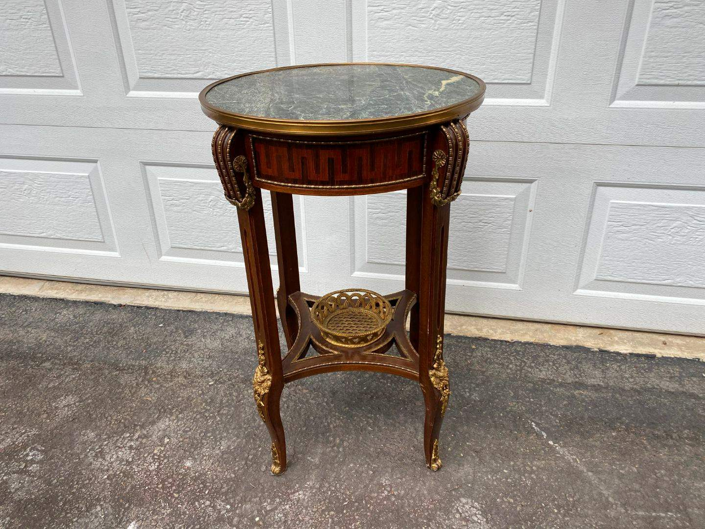 Lot # 307 - Vintage Louis XV Style Marble Top Side Table w/Brass Accents (main image)
