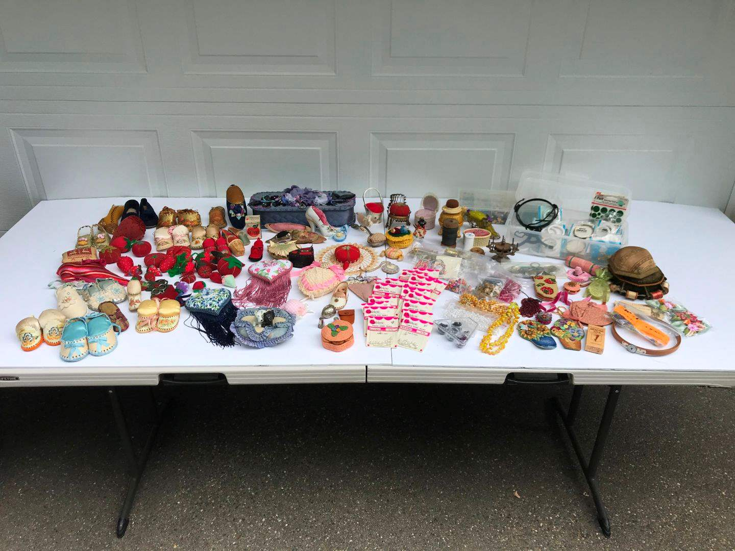 Lot # 292 - Lot of Hand Made Pin Cushions(Shoes are Pin Cushions), Plastic/Some Glass Beads & More.. (main image)