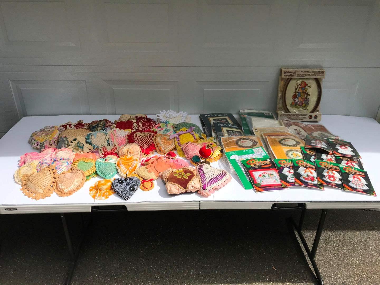 Lot # 293 - Selection of Hand Made Pin Cushions & Cross Stitch Kits (main image)