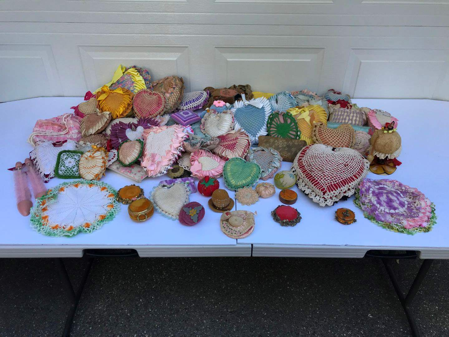 Lot # 295 - Large Lot of Pin Cushions & Doilies - All Hand Made  (main image)