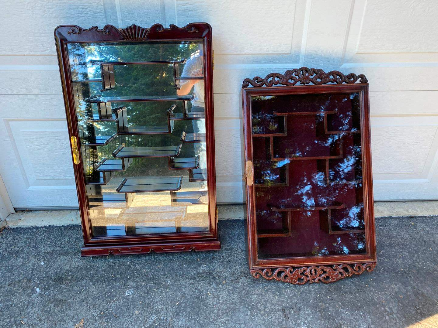 Lot # 340 - Two Beautiful Large Cherry Wood Hanging Shadow Boxes w/Glass Doors (main image)