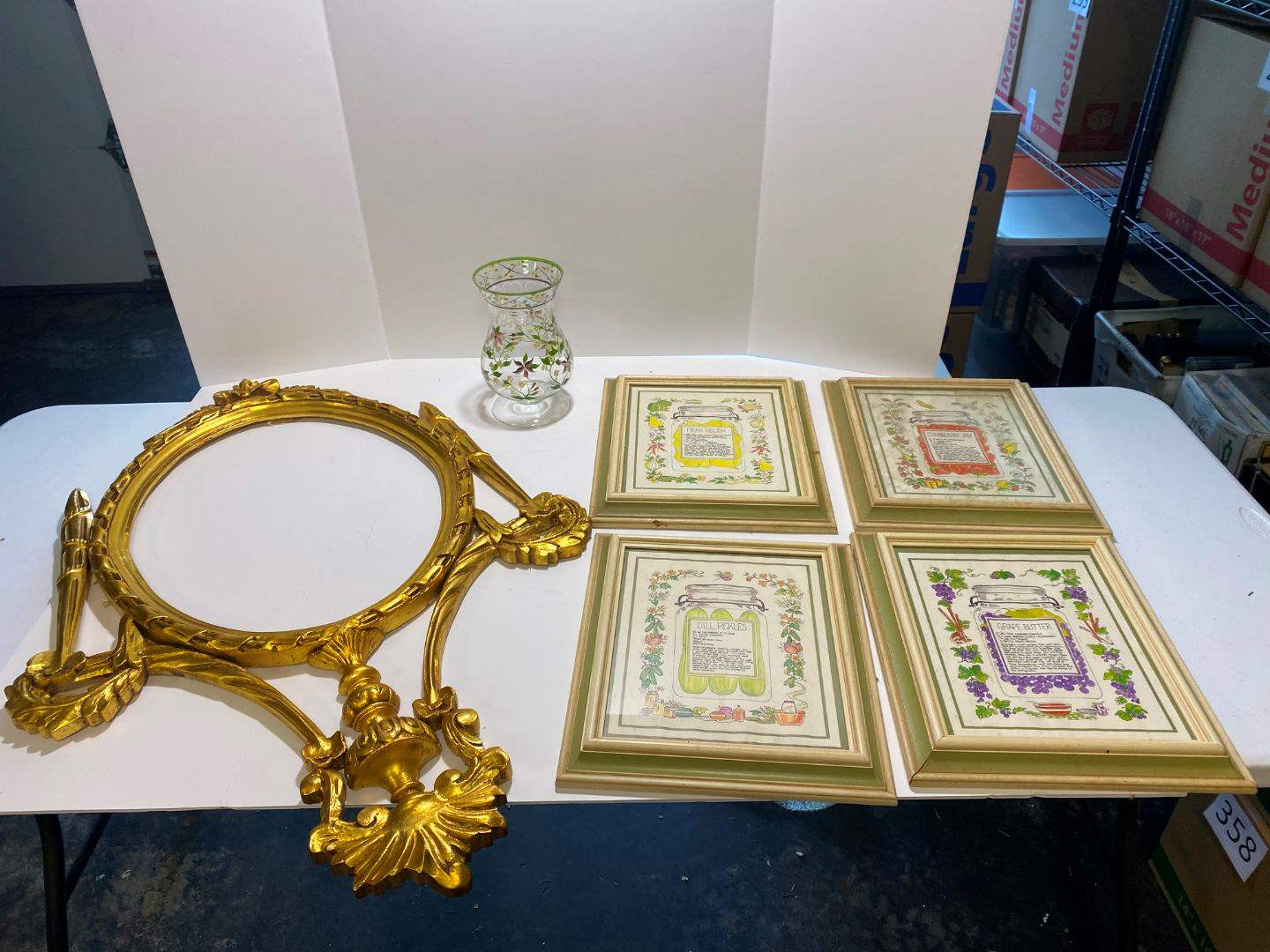 Lot # 371 - Wood Mirror Frame, 4 Pieces of Wall Art & Hand Painted Vase (main image)