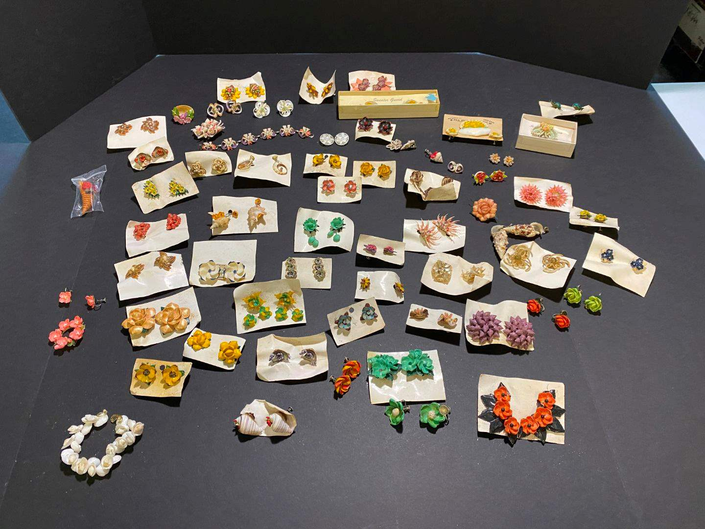 Lot # 376 - Beautiful Hand Crafted Shell Earrings, Pins & Bracelets  (main image)