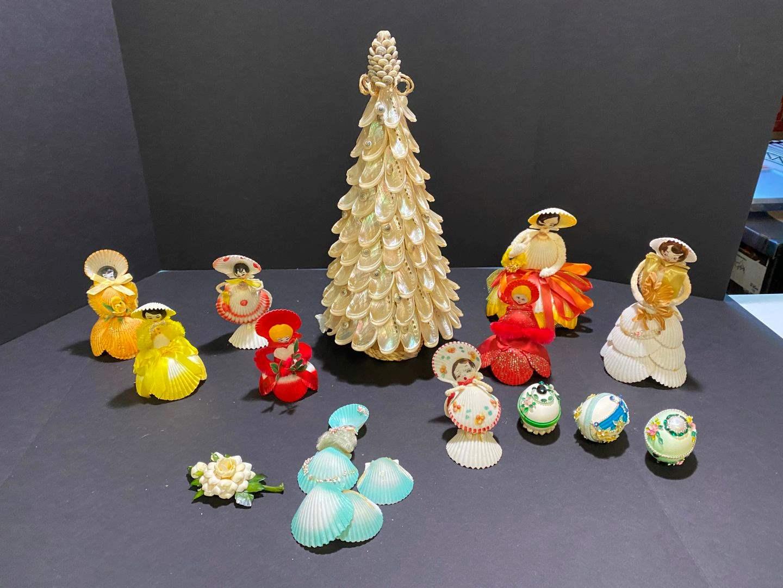 Lot # 378 - Awesome Handmade Shell Christmas Tree, Shell Dolls, Faberge Eggs - All Hand Made (main image)