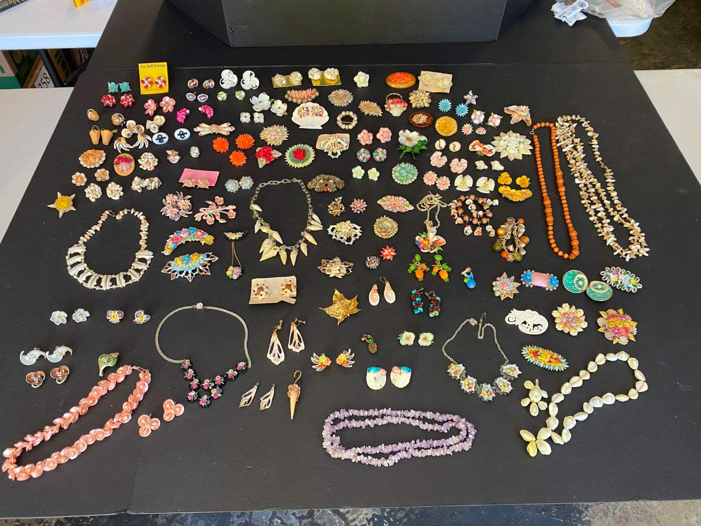 Lot # 387 - Handmade Shell Earrings, Pins & Necklaces  (main image)