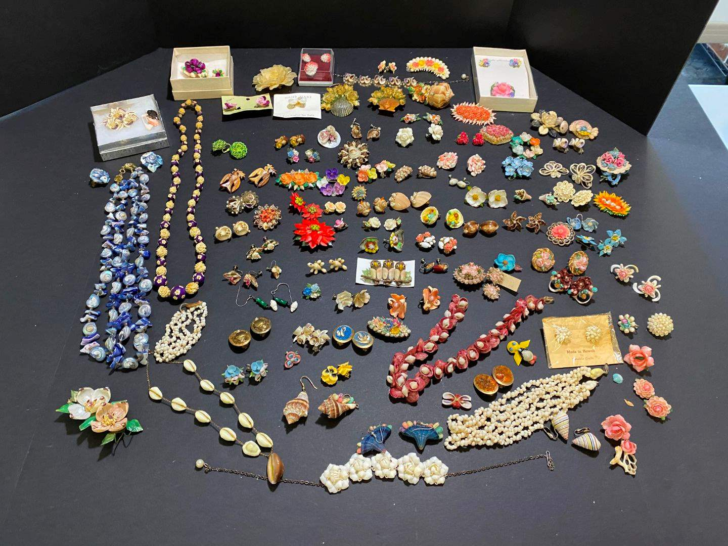 Lot # 388 - Handmade Shell Earrings, Pins & Necklaces (main image)
