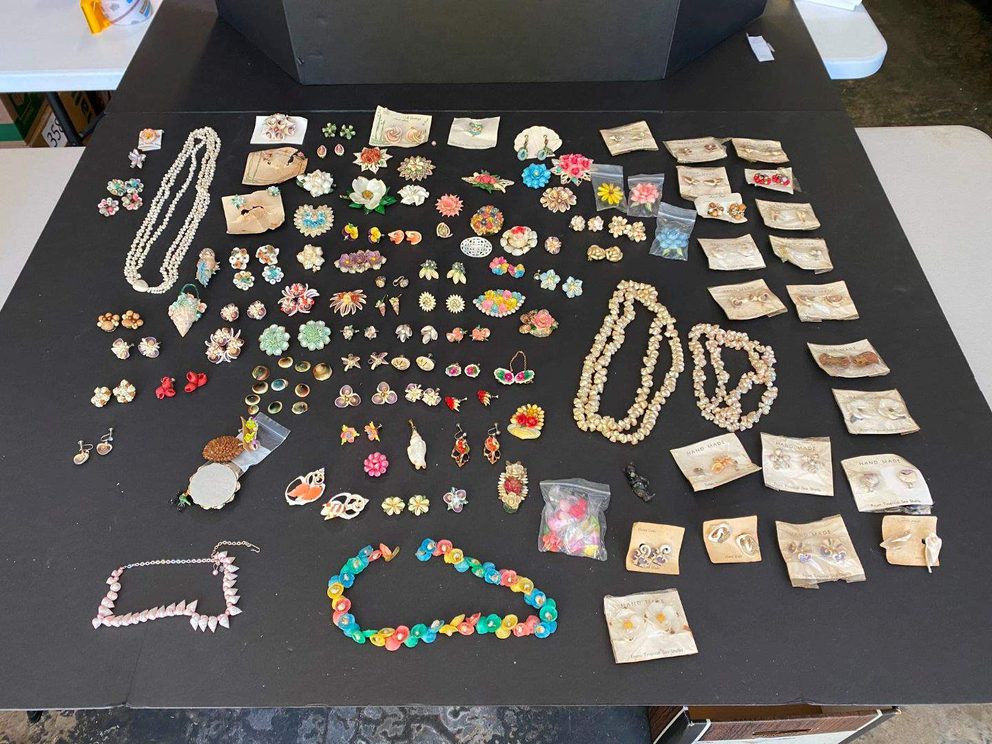 Lot # 389 - Handmade Shell Earrings, Pins & Necklaces (main image)