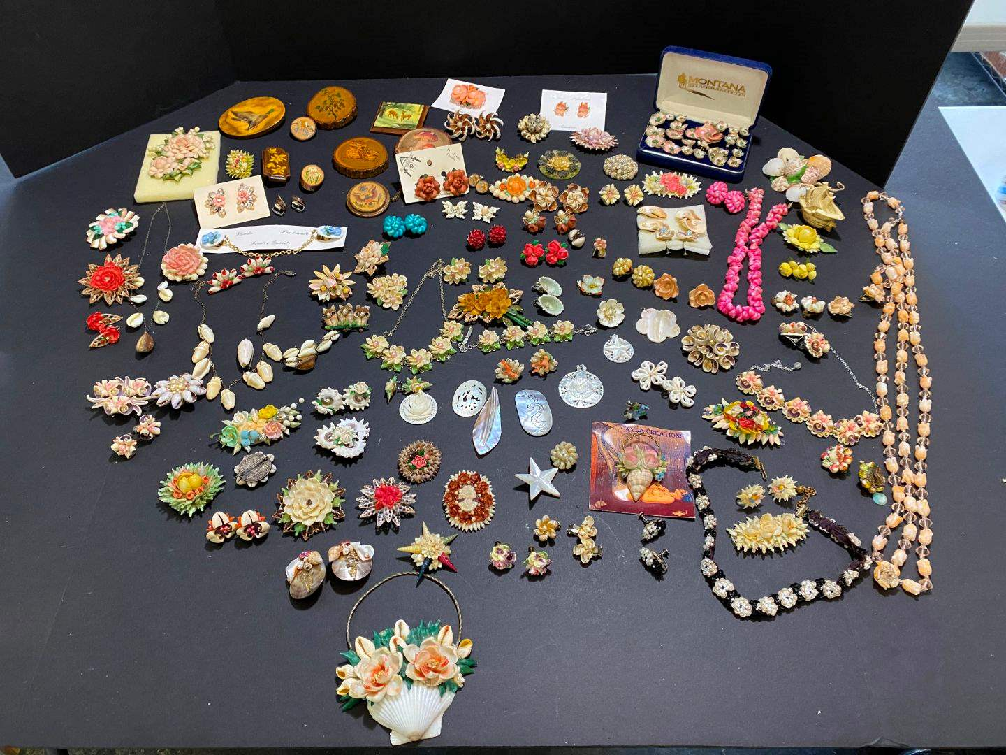 Lot # 390 - Handmade Shell Earrings, Pins & Necklaces (main image)