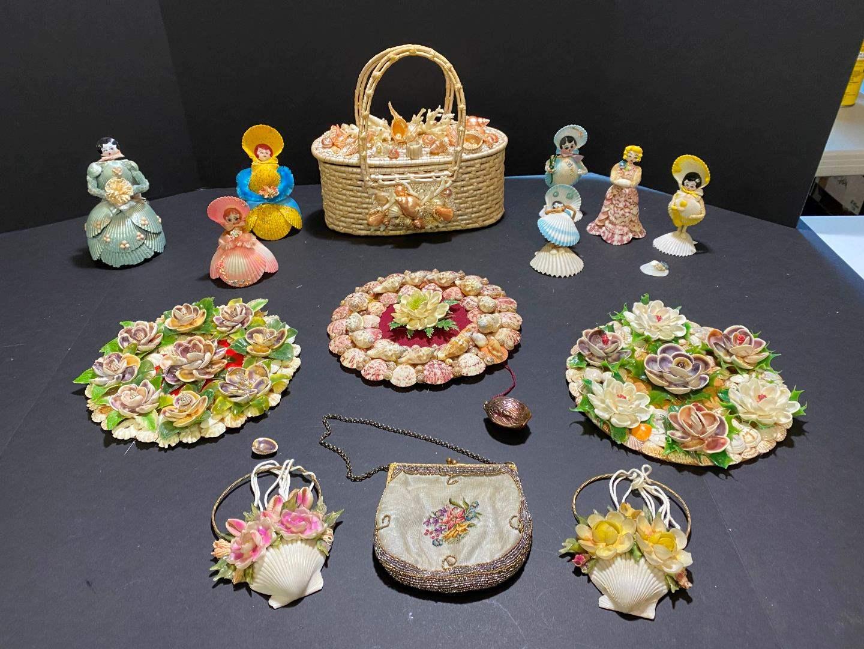Lot # 392 - Handmade Shell Designed on Wicker Hand Bag, Handmade Shell Women, Wall Art & More.. (main image)