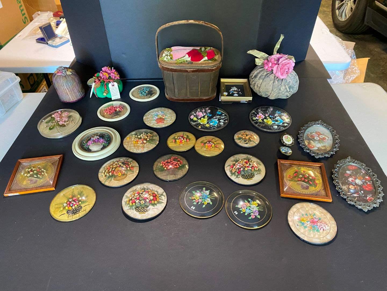 Lot # 394 - Handmade Shell & Floral Wall Art, Pin Cushions & Small Basket (main image)