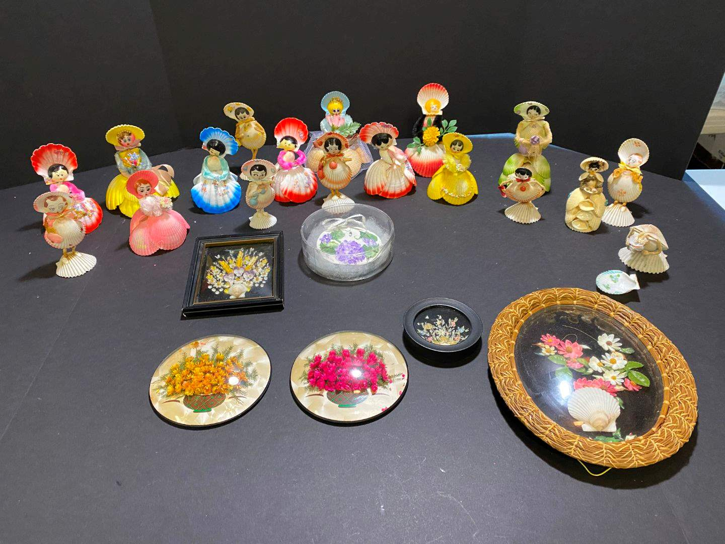Lot # 395 - Handmade Shell Dolls & Wall Art  (main image)